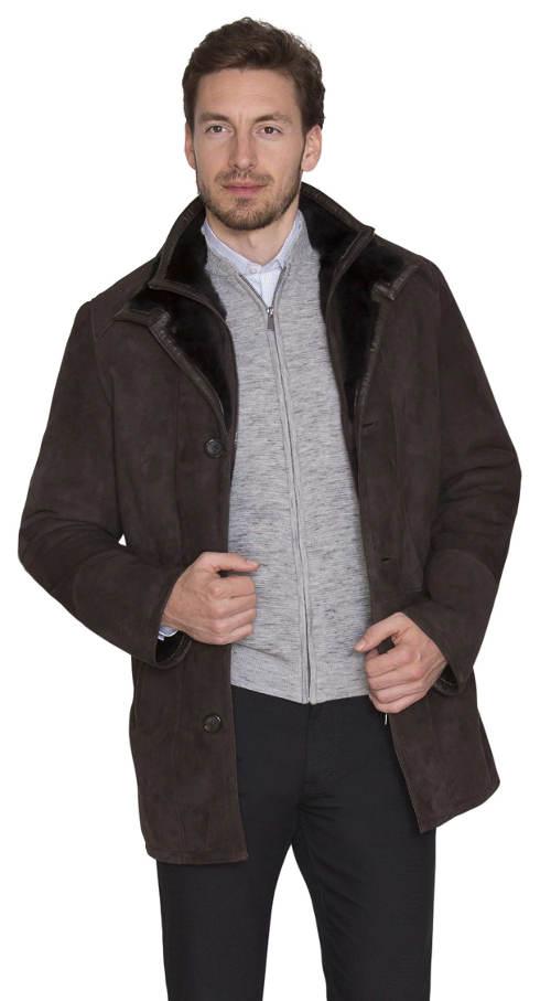 Pánský zimní zateplený kožený kabát Kara