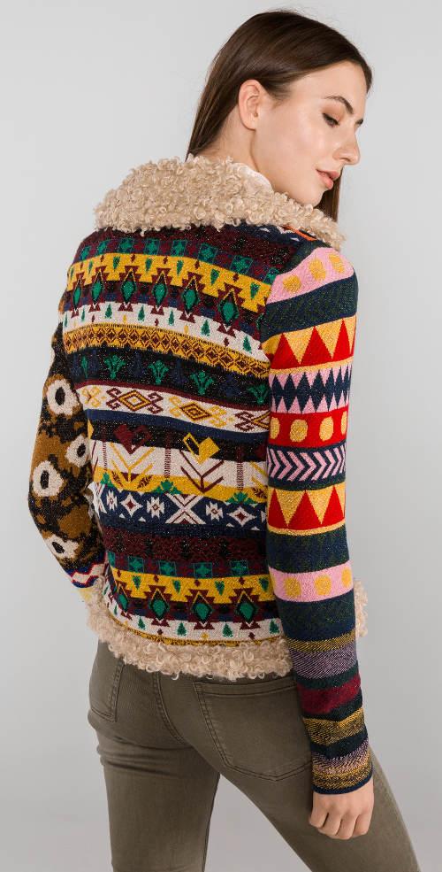 Pestrobarevná dámská zimní bunda