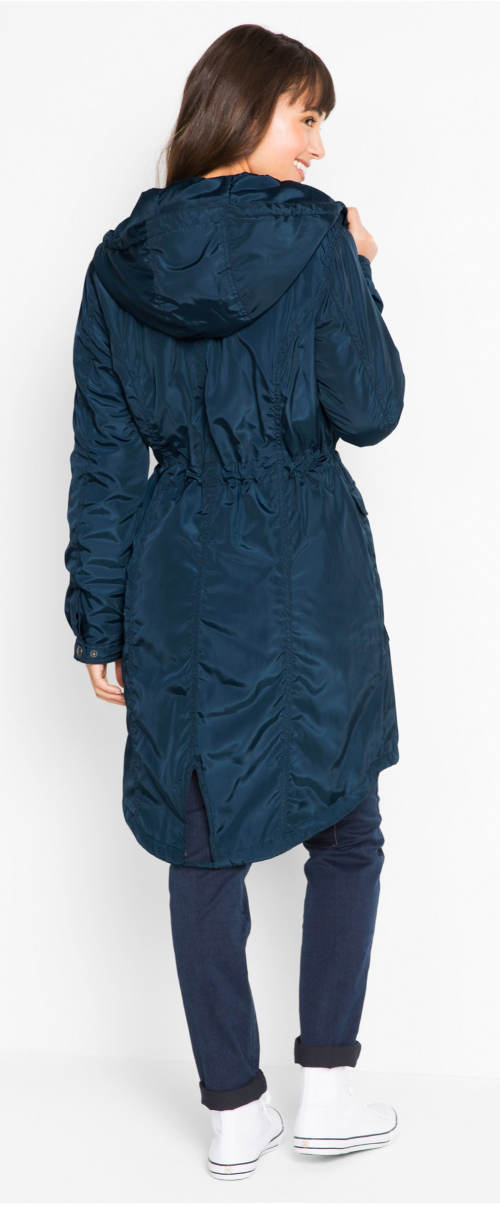 Prodloužený modrý dámský kabát