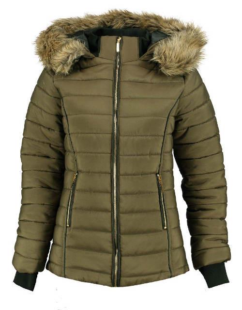 Prošívaná dámská zimní bunda s náplety na rukávech