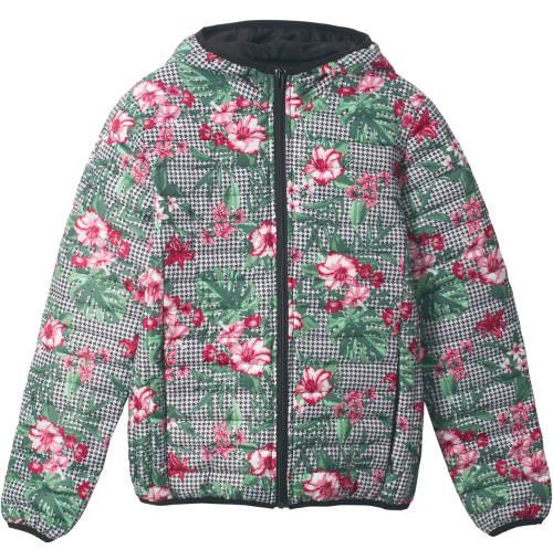 Prošívaná květinová dívčí bunda
