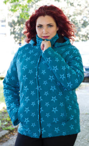 Prošívaná zimní bunda pro plnoštíhlé s motivem hvězdiček