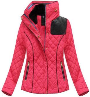 Růžová krátká prošívaná dámská zimní bunda
