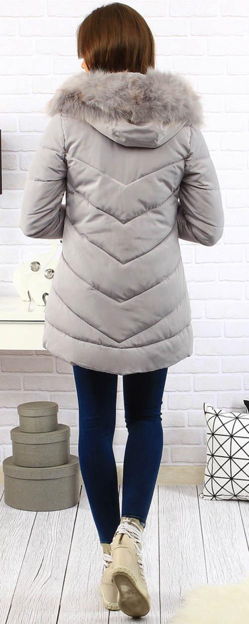 Šedá dámská zimní bunda s velkou kapucí
