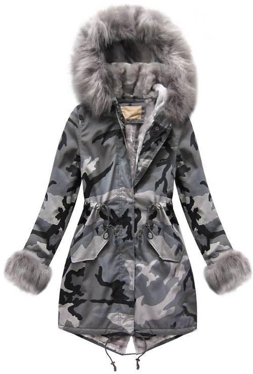Šedá maskáčová moro dámská bunda