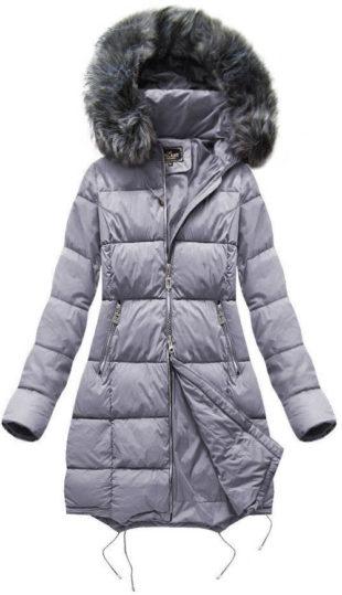 Šedá teplá dlouhá zimní bunda s kapucí