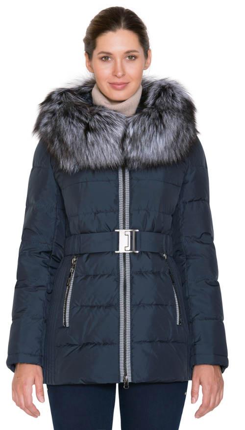 Teplý a funkční péřový kabát s kožešinou z lišky stříbrné