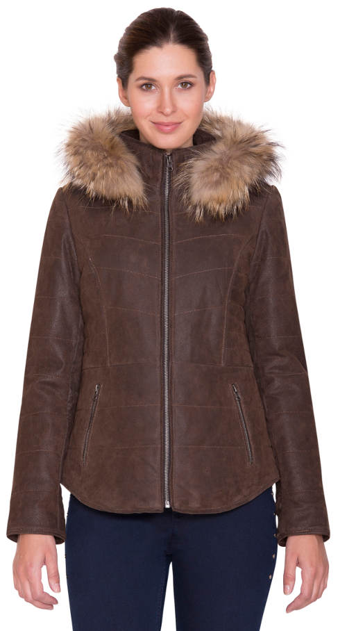 Tmavě hnědá kožená zimní bunda Kara