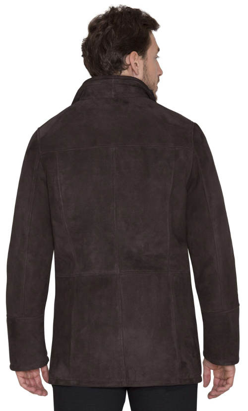 Tmavě hnědý pánský kožený kabát