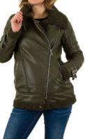 Tmavě zelená kožená dámská zimní bunda do pasu