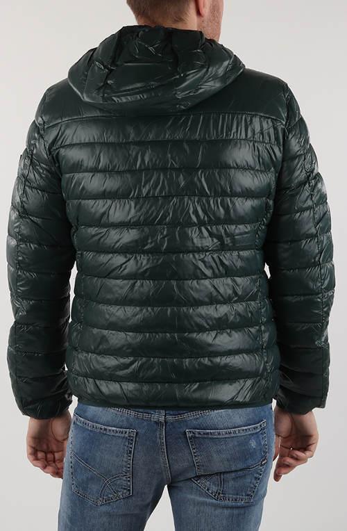 Tmavě zelená lesklá pánská zimní bunda