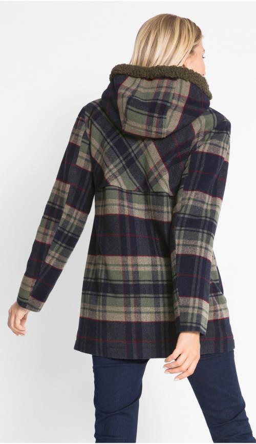 Tříčtvrteční karovaný kabát s kapucí