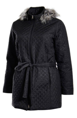 Zateplený dámský kabát nadměrných velikostí