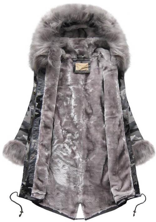 Zimní maskáčová bunda s hřejivým kožíškem