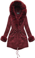 Bordó dámská zimní bunda s kožíškem