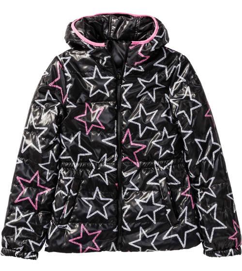 Černá holčičí zimní bunda s hvězdičkami