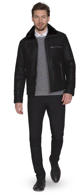 Černá krátká kožená zimní bunda Kara