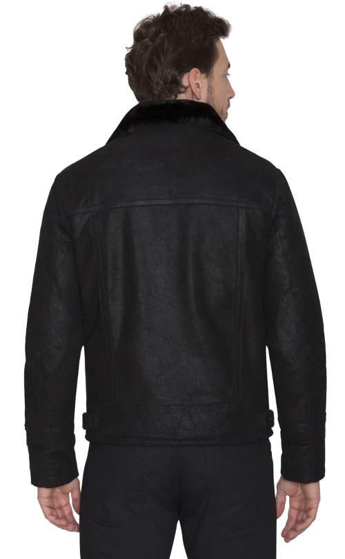 Černá pánská bunda z pravé kůže