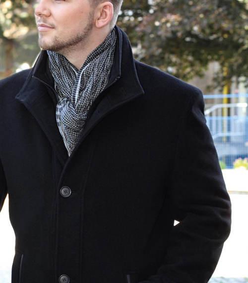 Černý pánský vlněný kabát