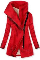 Červený zimní sportovní kabát se zapínáním na šikmý zip