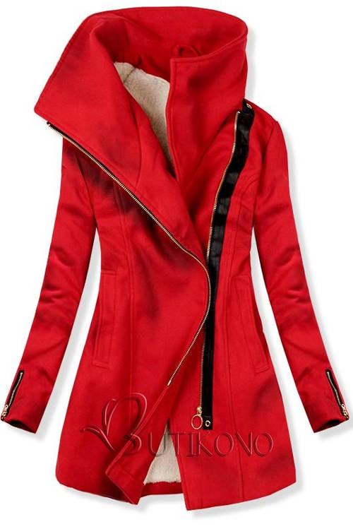 Červený zimní sportovní kabát se zapínáním na šikmý zip 919918951fc
