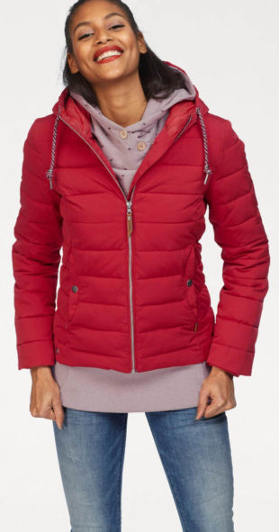 Červná péřová dámská zimní bunda s nápletem