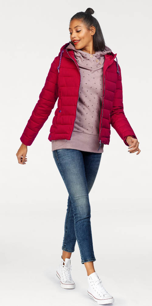 Dámská červená zimní bunda do pasu
