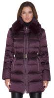 Dámská fialková péřová bunda s kožešinovým límcem