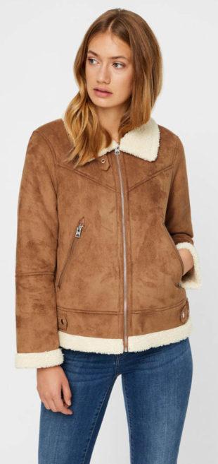 Dámská hnědá semišová bunda s umělým kožíškem