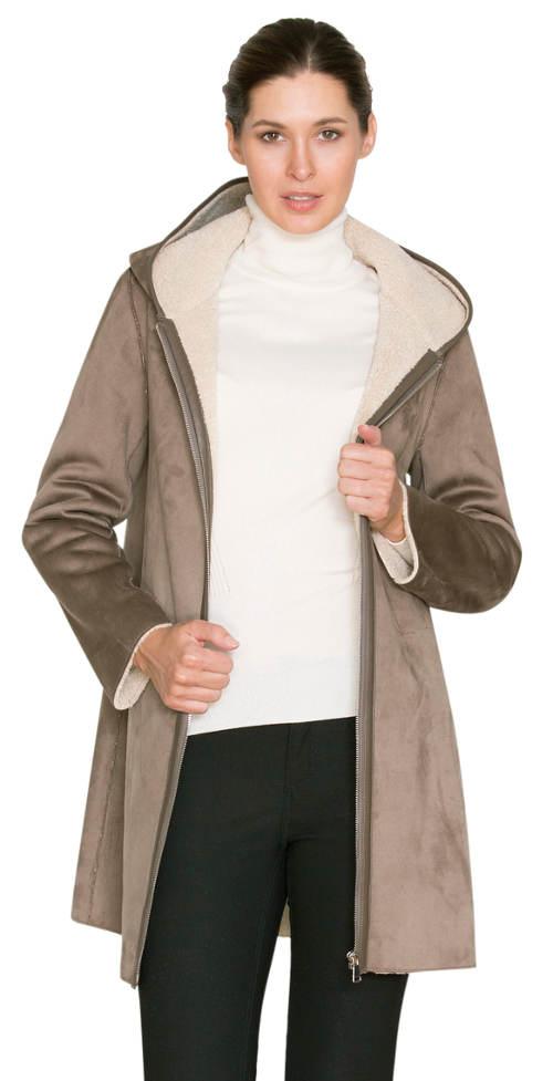 Dámský kabát kratší délky s vnitřním podšitím z umělé kožešiny