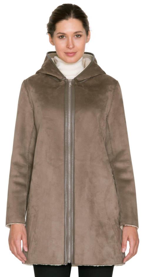825a5ecae9d Dámský kabát kratší délky s vnitřním podšitím z umělé kožešiny. Dámský  kožený zimní kabát Dámský kožený zimní kabát Dámský zimní kabát Kara  výprodej ...