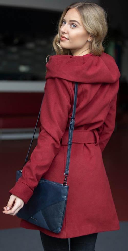 Červený dámský zimní kabát za příznivou cenu 76ff77d48d1
