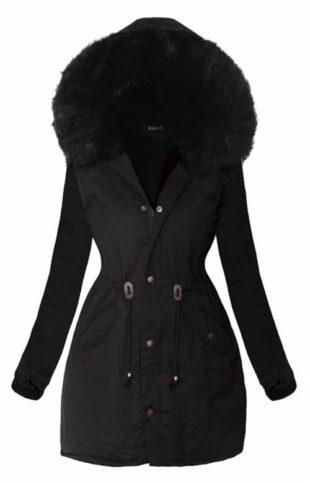 Delší černá zimní bunda s černým kožíškem
