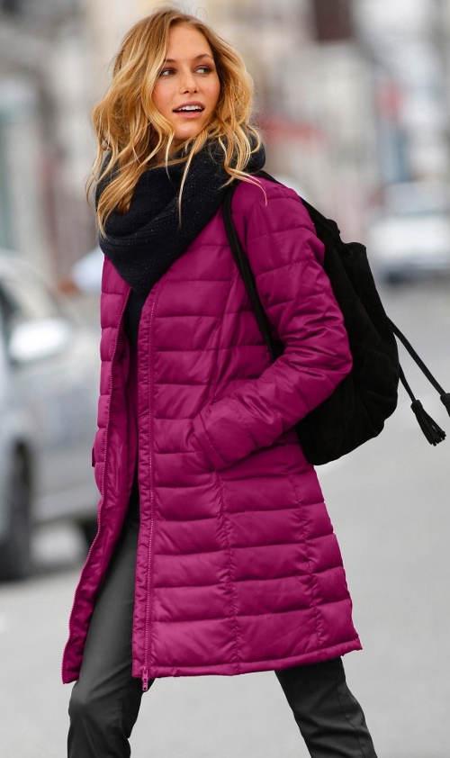 Dlouhá dámská zimní bunda bez kapuce