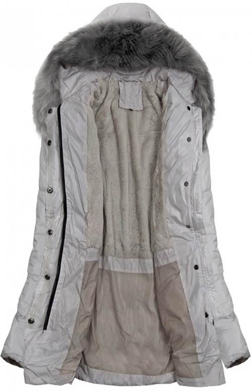 bc3372fcdea Dlouhá šedá prošívaná dámská bunda ...