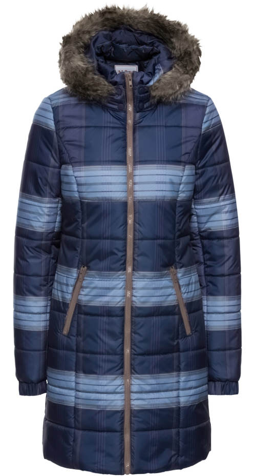 Dlouhý modrý prošívaný dámský kabát