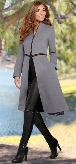 Dlouhý šedý dámský kabát na zip