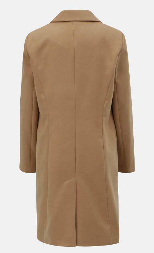 Dlouhý světle hnědý dámský zimní kabát