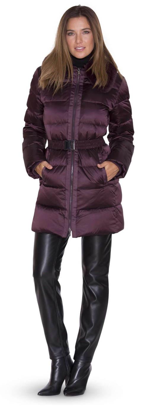 Fialová zimní bunda s opaskem na přesku