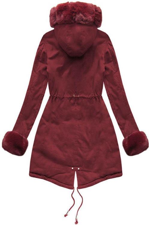 Fialový dámský zimní kabát s kožíškem