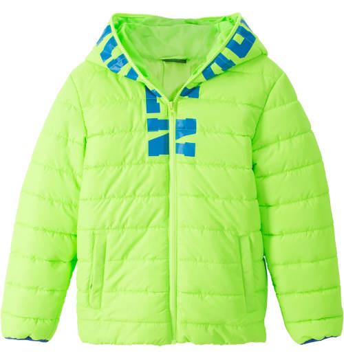 Fosforově zelená dětská zimní bunda