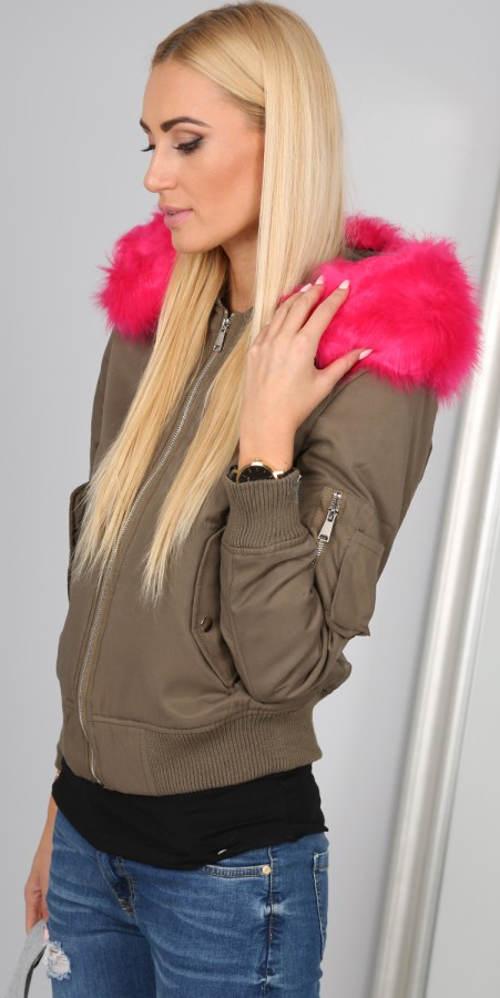 Hnědá dámská bunda s růžovým kožíškem