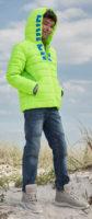 Klučičí neonově zelená zimní bunda