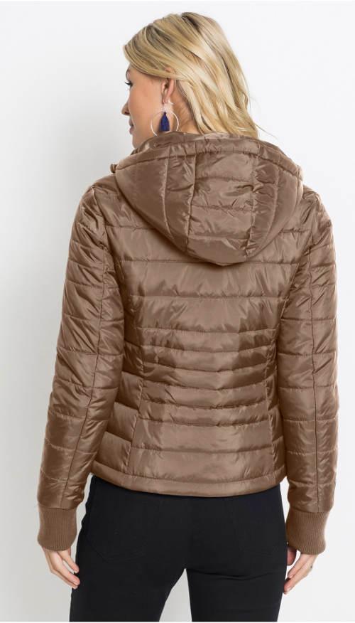 Krátká hnědá dámská zimní bunda