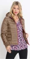 Krátká vatovaná zimní bunda s kontrastním zipem