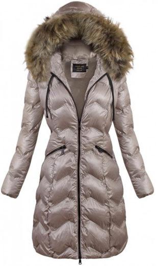 Lesklá béžová dámská zimní bunda vypasovaného střihu