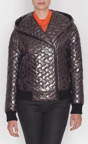 Lesklá kratší prošívaná dámská zimní bunda