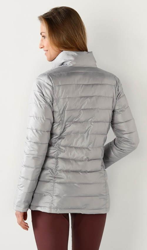 Lesklá šedá prošívaná dámská zimní bunda