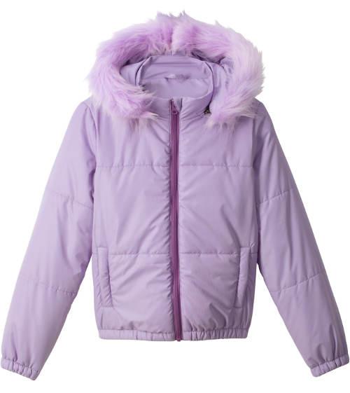 Levná dívčí prošívaná bunda s kapucí