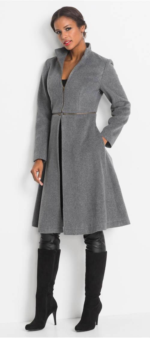 Levný šedý zimní kabát